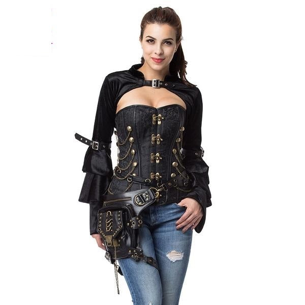 Vintage Gothic Overbust Steel Boned Corsets