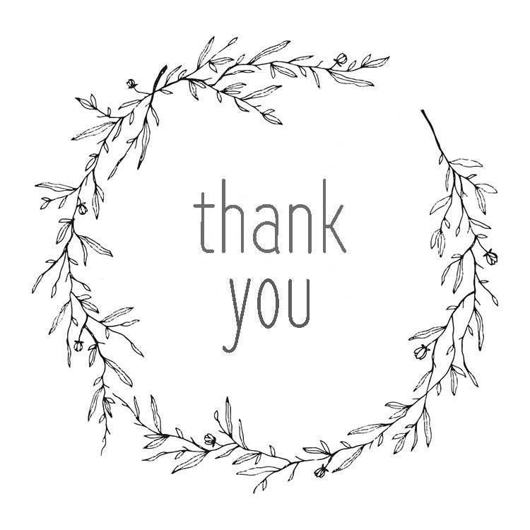 photo about Printable Thank You Tags called Printable Thank By yourself Tags for Favors and Presents - Black and White Wreath