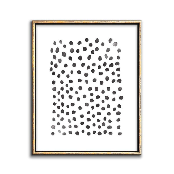abstact dots black and white art print