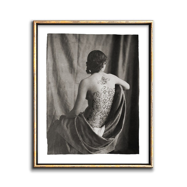 arabesque pattern back tattoo on a model photo collage print