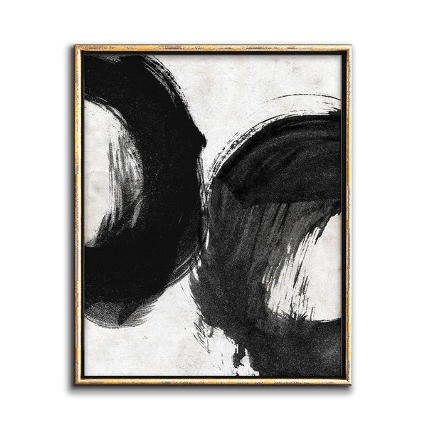 black and white abstract painting circles