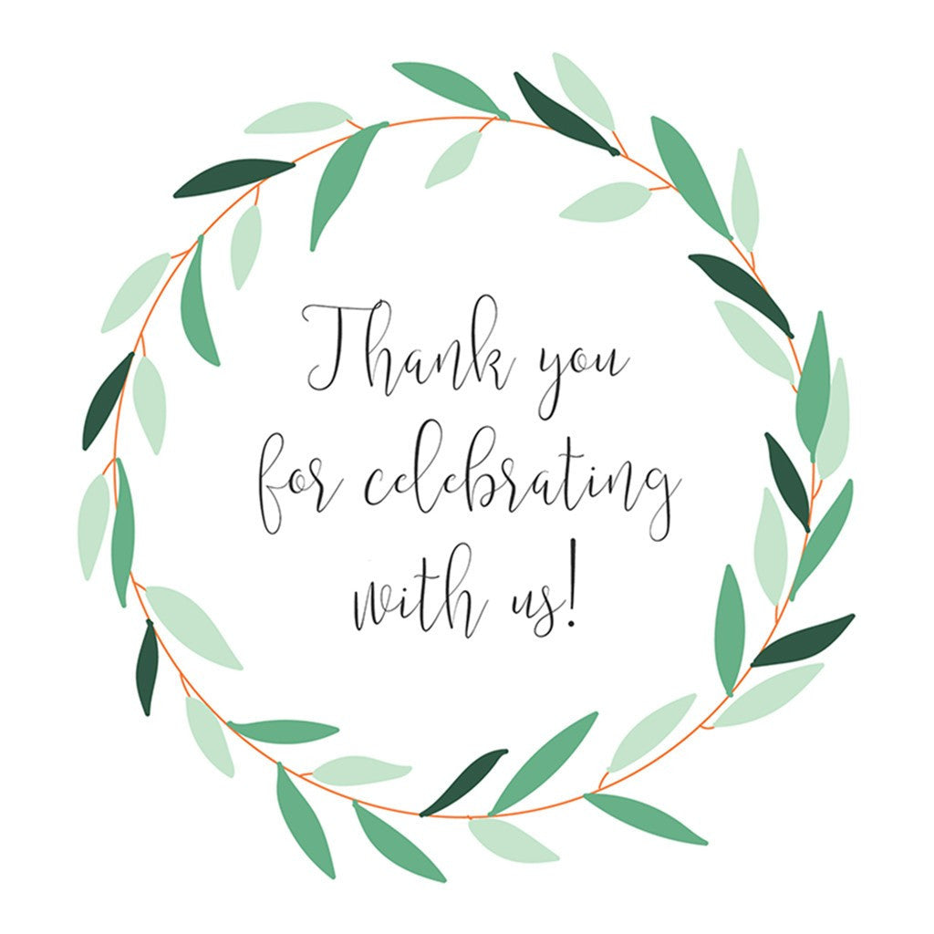 photo relating to Thank You Tag Printable identified as Printable Marriage Prefer Tags Environmentally friendly Wreath- Thank by yourself for celebrating with us!