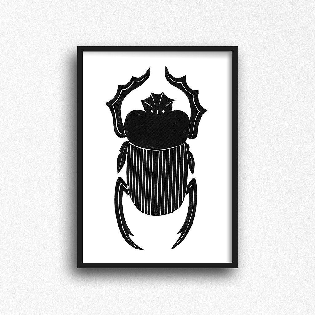 Egyptian scarab beetle art print