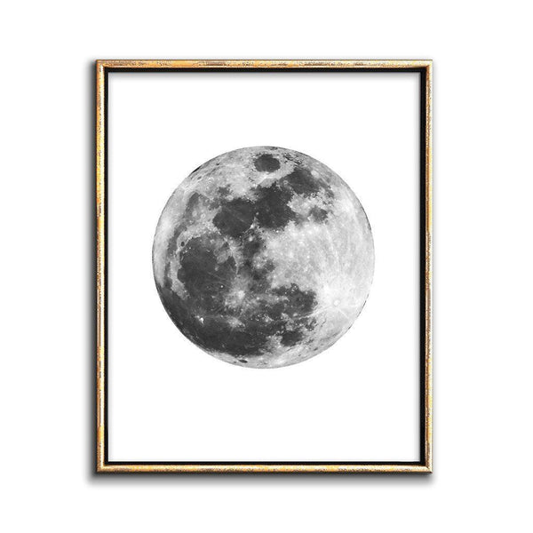 Full Moon Black and White Space Art Printable