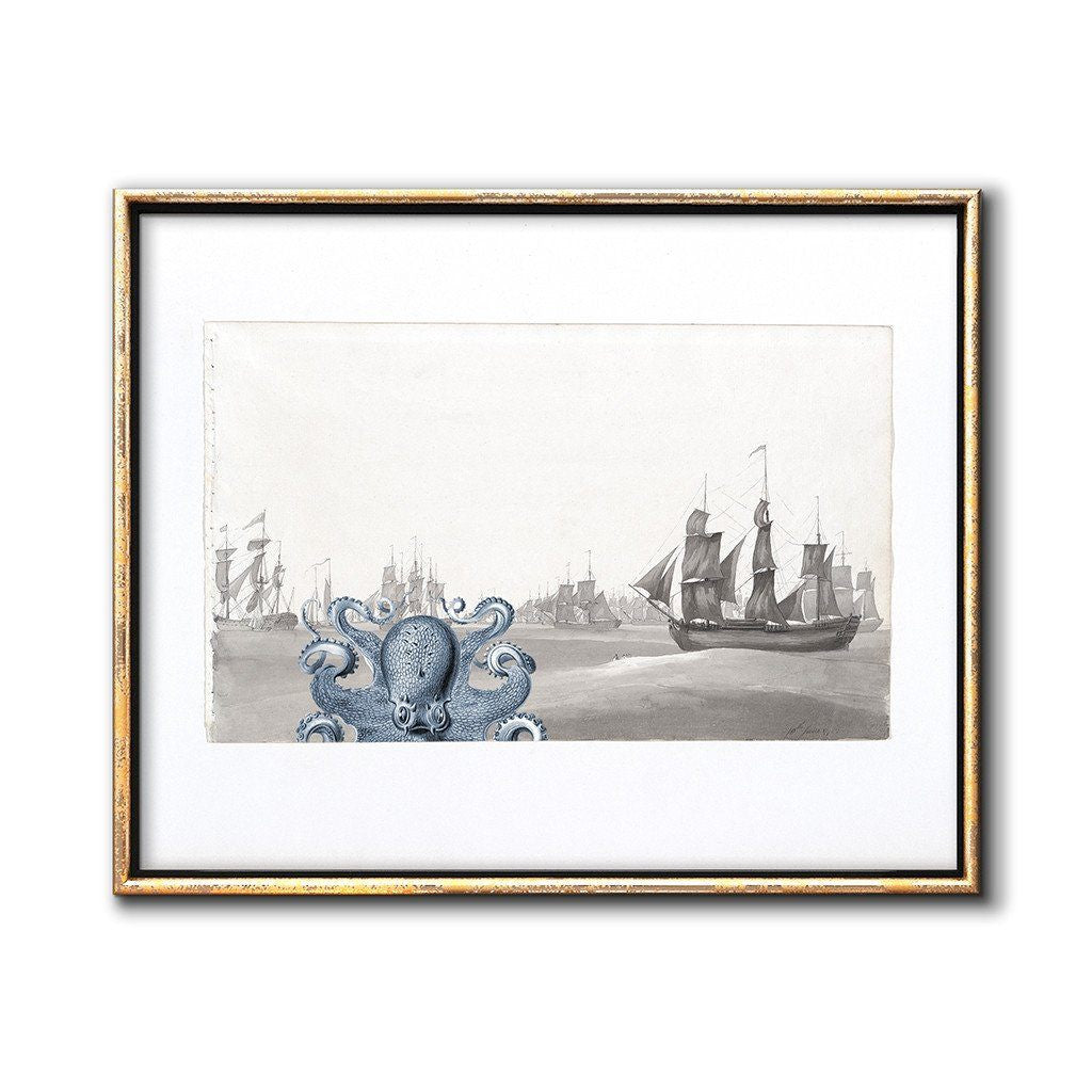 nautical nursery wall decor kraken and sailing ships print