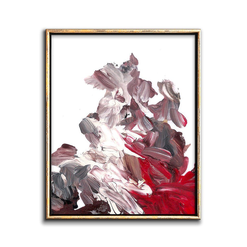 abstract painting print red gray