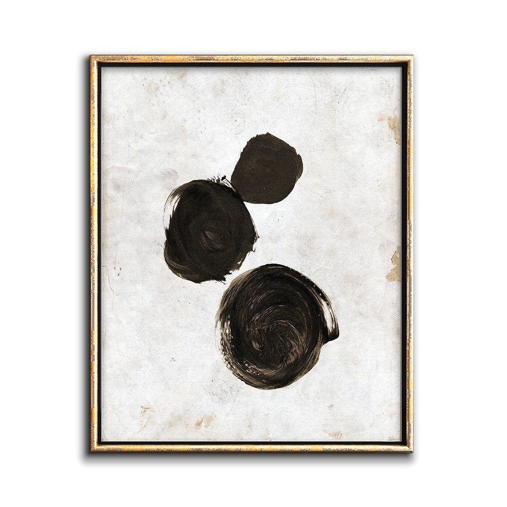 abstract wall art painting circles black and white