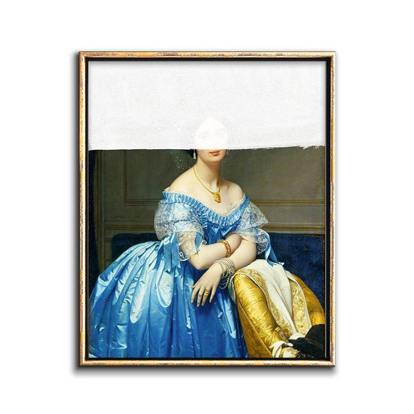altered vintage portrait painting of a woman in a blue dress
