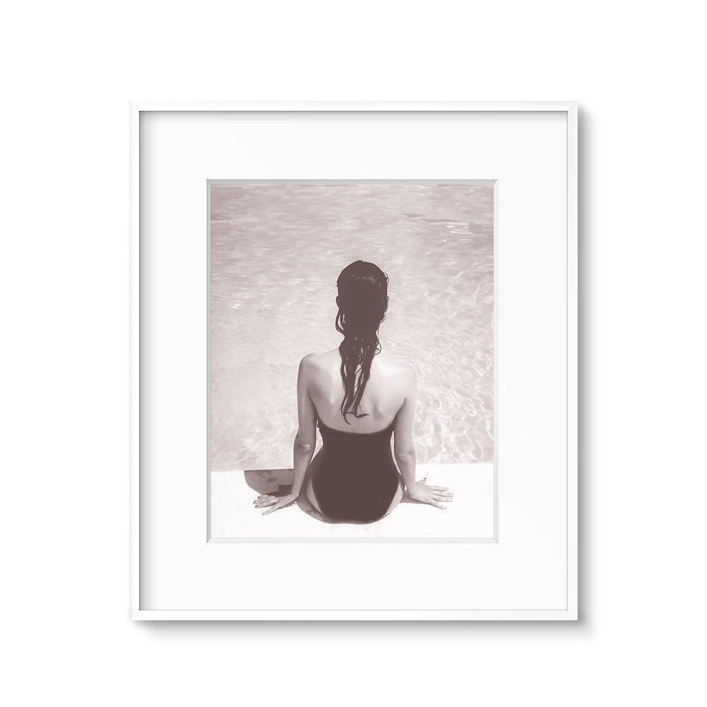 sepia black and white beach art print girl by a pool