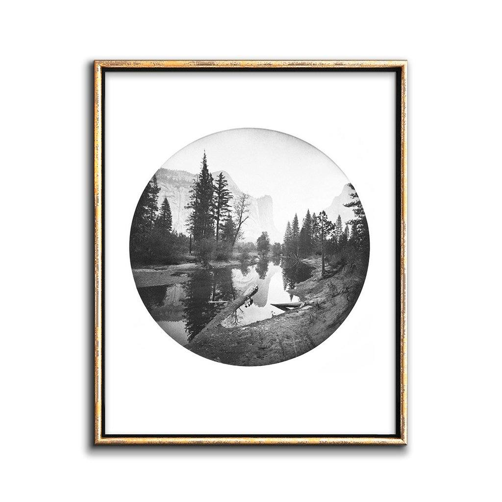 vintage round landscape photo of Yosemite park