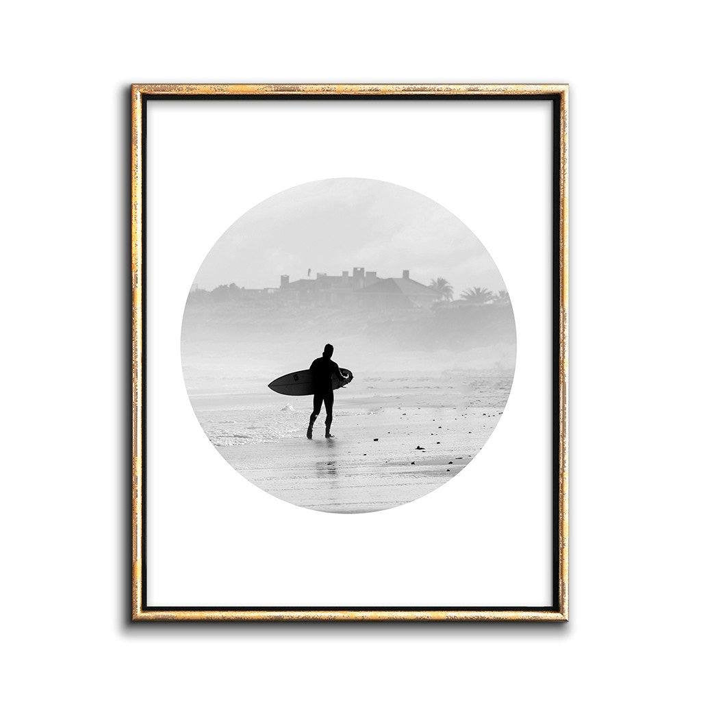 surfer beach art printable black and white