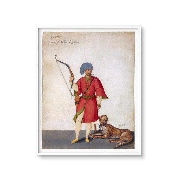 global wall decor antique painting of an archer and a cheetah