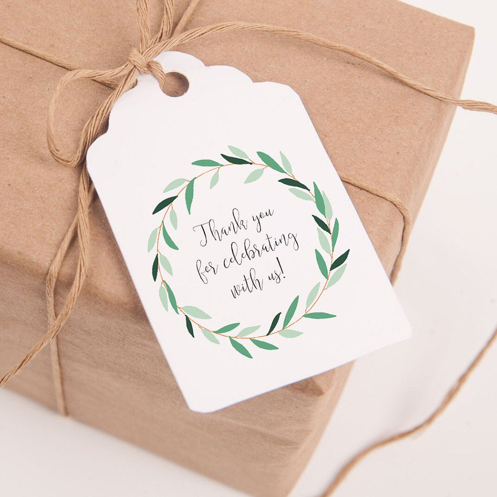 Printable Wedding Favor Tags Green Wreath- Thank you for celebrating ...