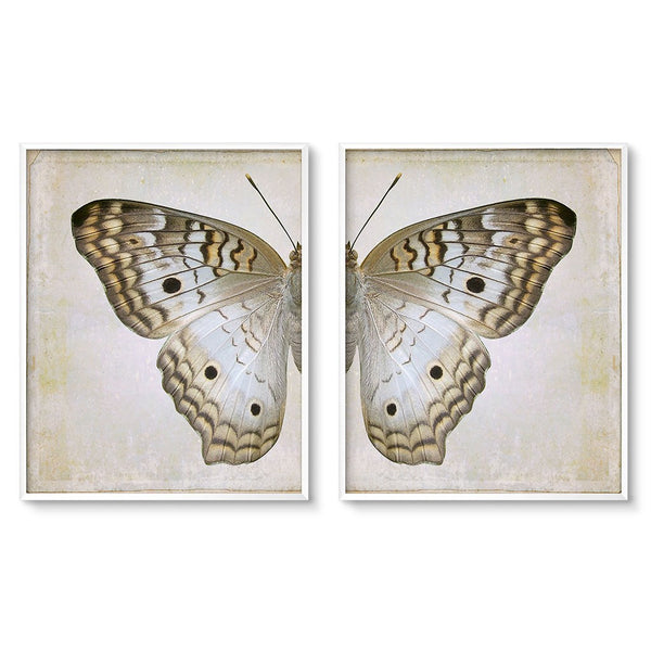 Butterfly Decor Diptych Wall Art Set Cream And Gray Wing Prints