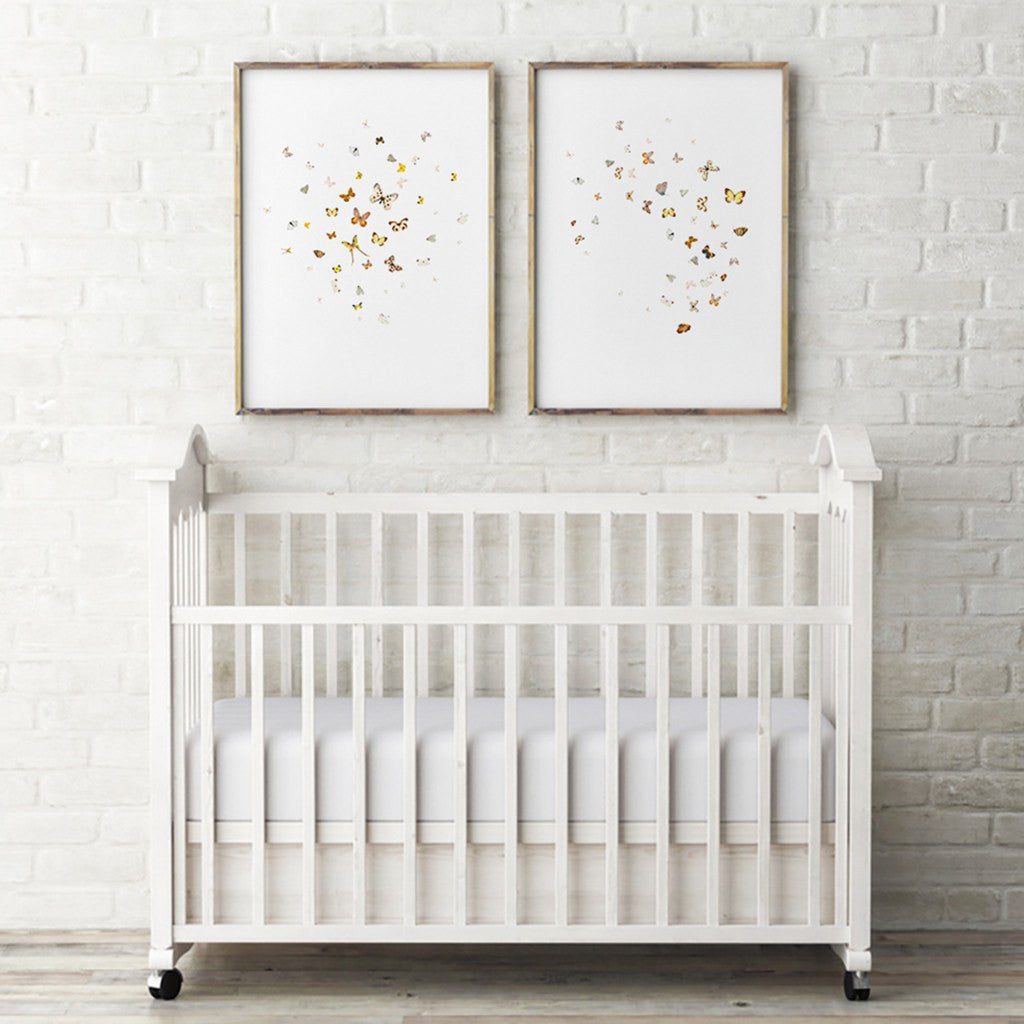 Nursery Wall Decor Set : Nursery wall decor yellow and white butterflies diptych