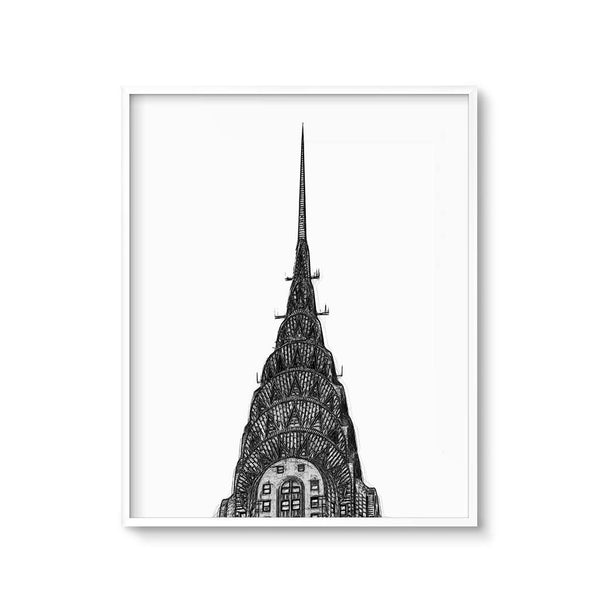 new york city wall art drawing of the chrysler building