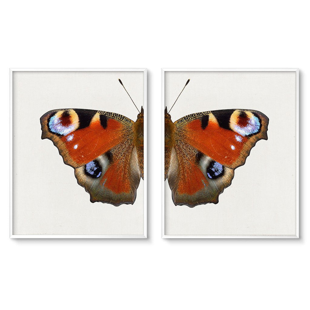 red butterfly wall art prints set of 2