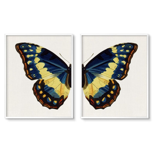 vintage butterfly art prints set of 2