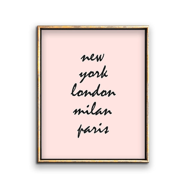 pink fashion week wall art printable cities