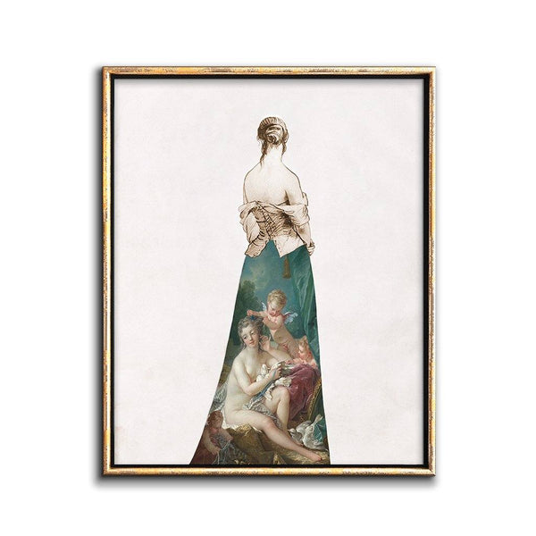 collage wall art print girl in a painted skirt