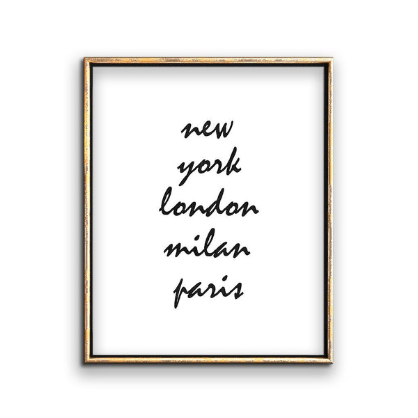 fashion week cities wall art printable