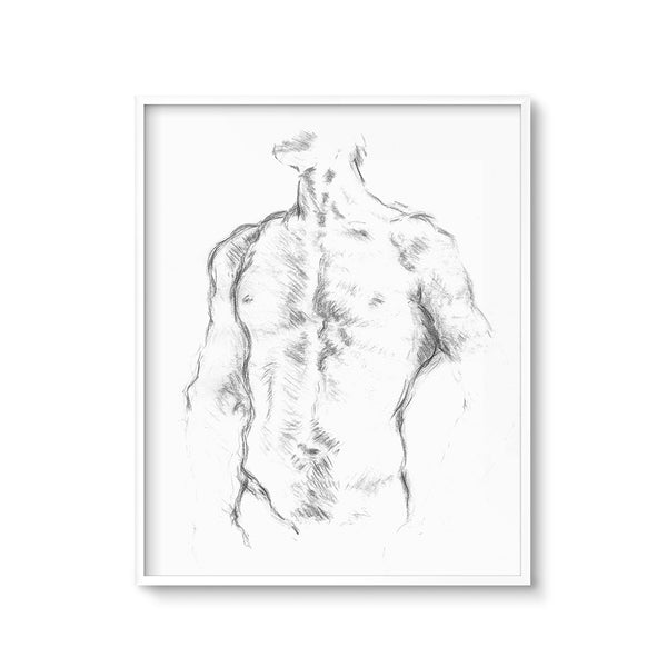 life drawing male torso printable art