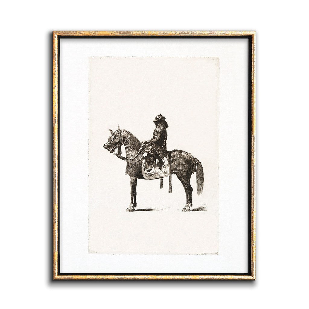 Gallery Decor Sepia Etching 19th-Century Japanese Horseman Printable Art
