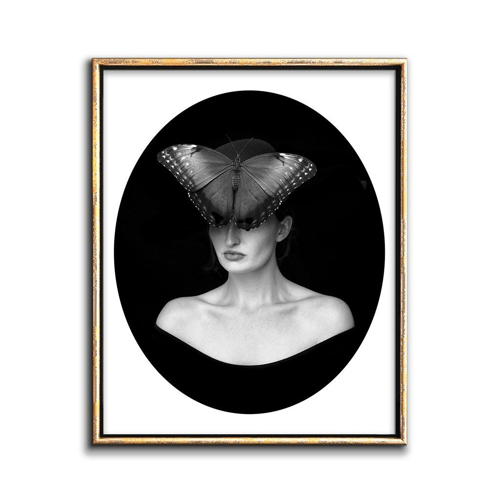 gothic decor black butterfly mask art print