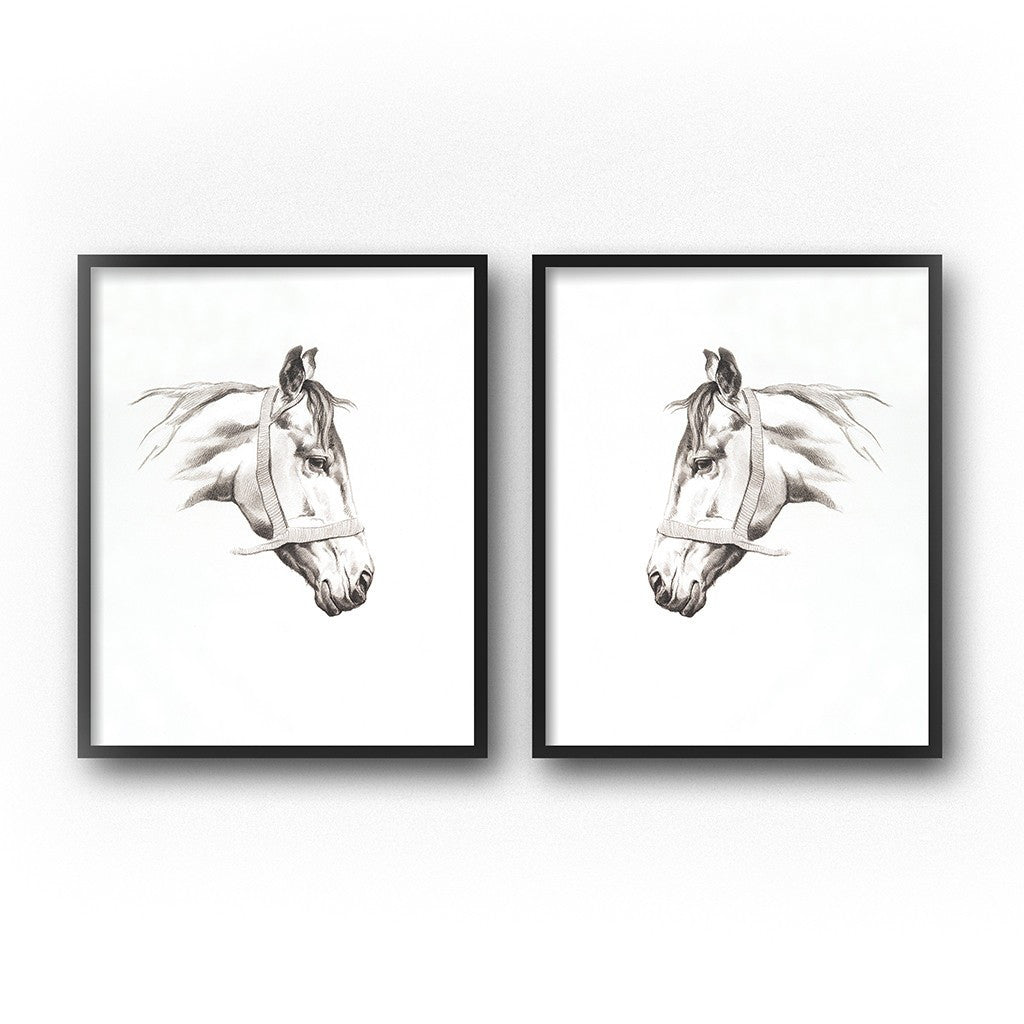 Horse drawing diptych western theme nursery art prints
