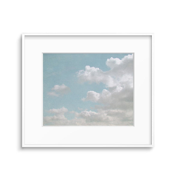 blue art print white clouds in the sky