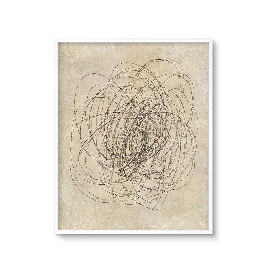 Abstract Flower Drawing Modern Wall Art Neutral Colors Chaos