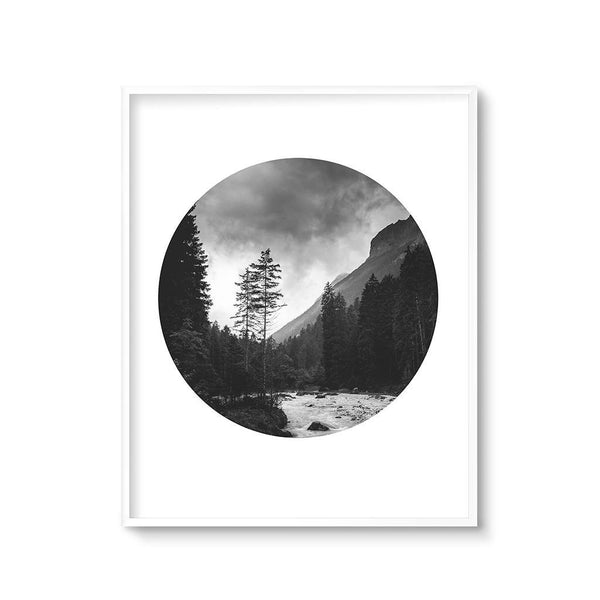 modern landscape art print black and white mountains