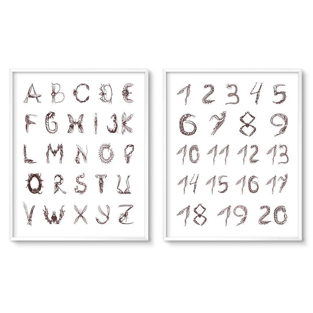 alphabet poster and number nursery art set vintage insect illustrations font