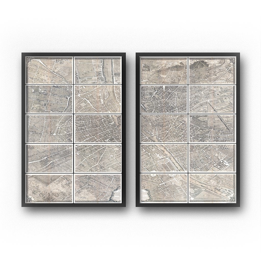 paris map print wall art set