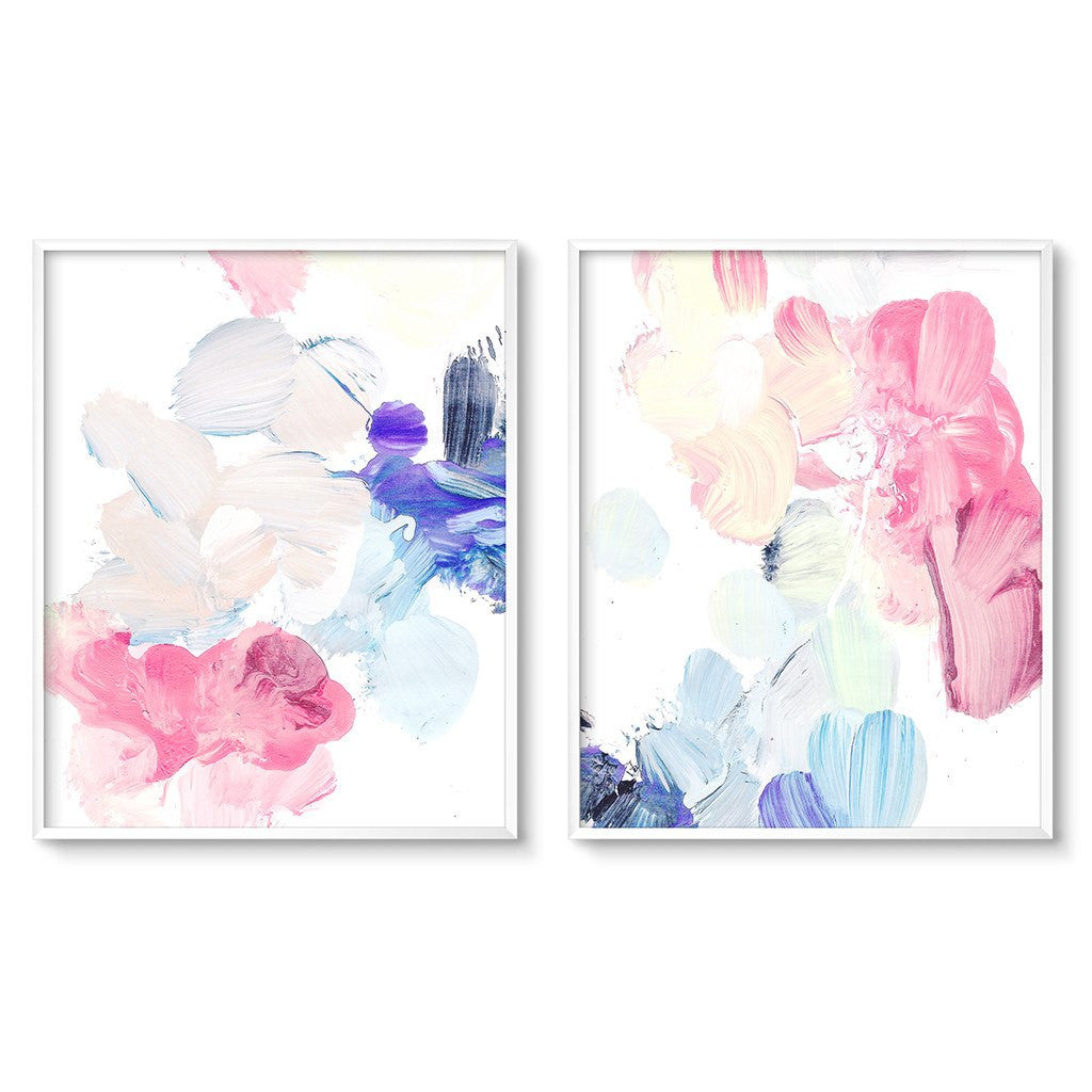 pastel abstract wall art set of two diptych prints