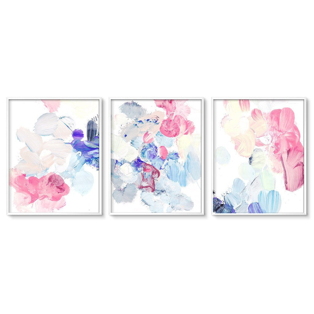 pastel abstract painting wall art set of three modern. Black Bedroom Furniture Sets. Home Design Ideas