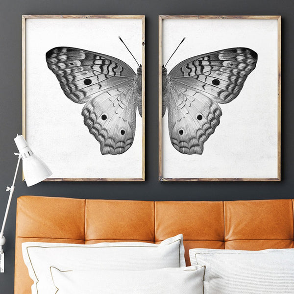 Black white butterfly diptych wall art printables chaos wonder design