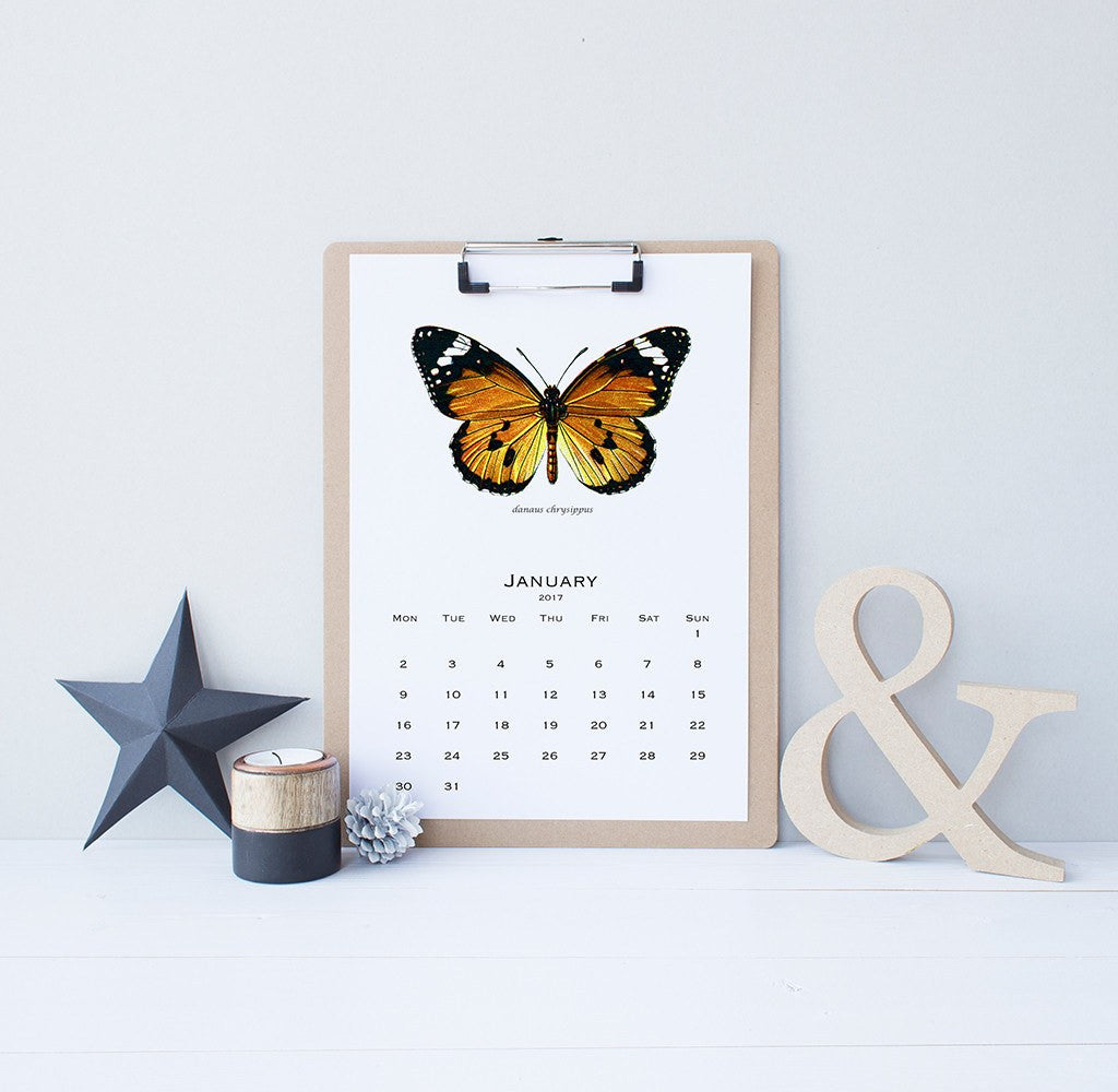 2017 printable calendar vintage butterflies science illustrations
