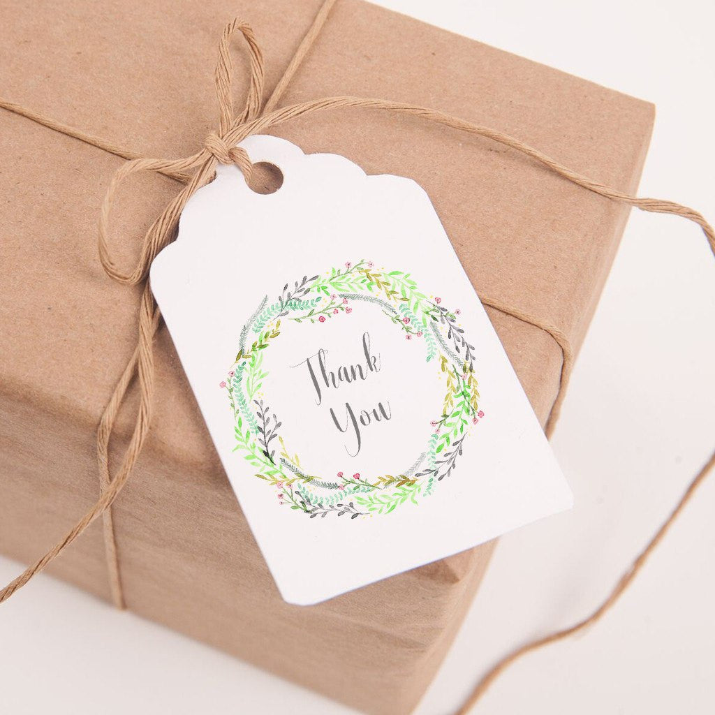 printable thank you favor tags watercolor green wreath square rectangular