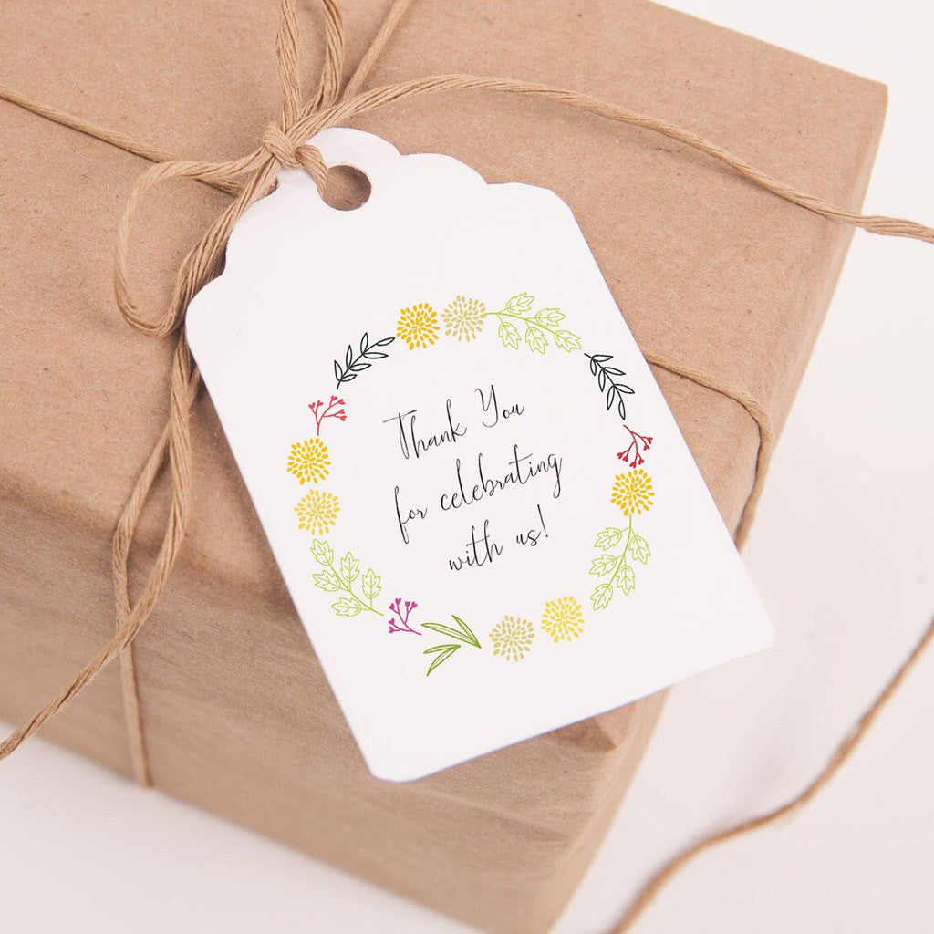graphic regarding Printable Thank You Tags referred to as Printable Want Tags Spring Wreath - Thank your self for celebrating with us!