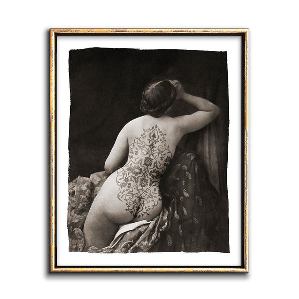 sepia photo bohemian art nude woman with tattoo