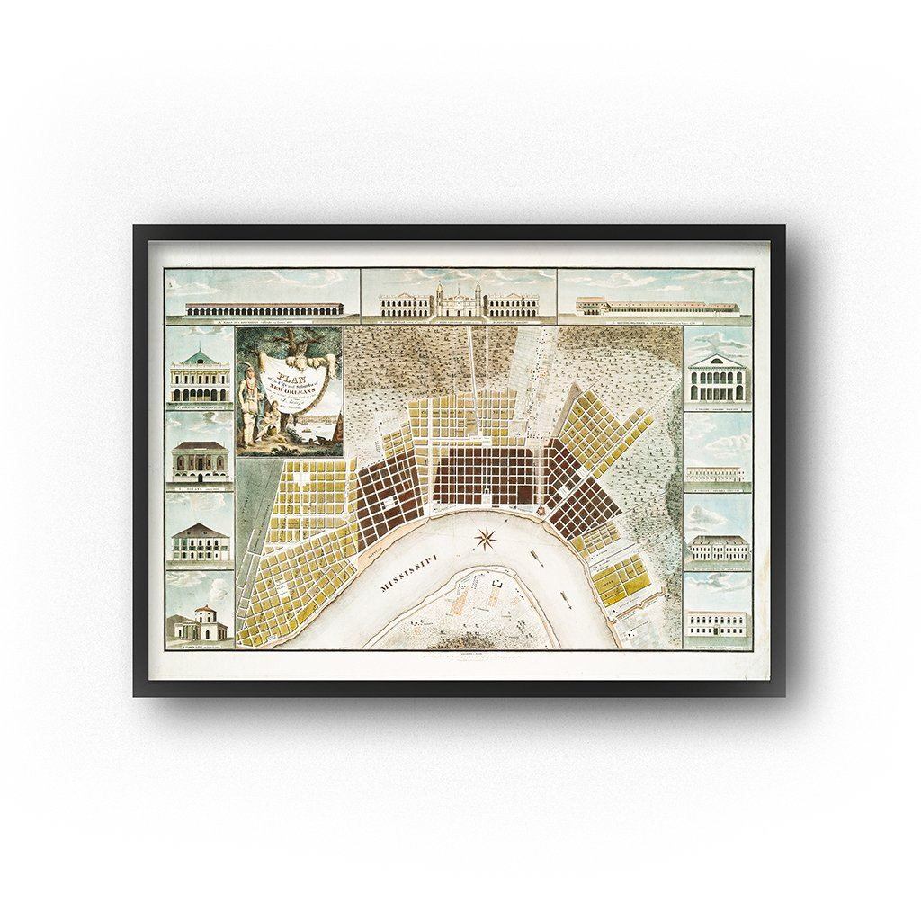 vintage map of the city of new orleans 19th-century