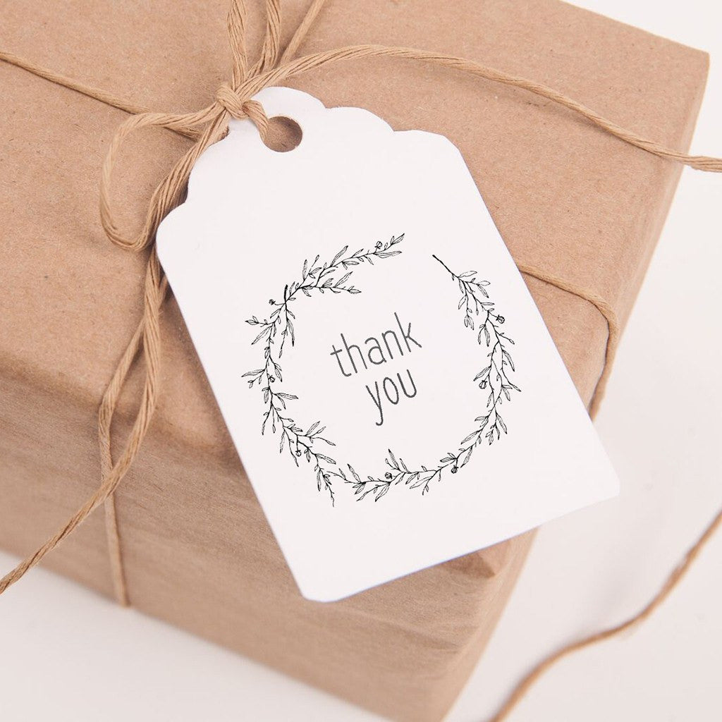 picture about Thank You Printable Tag identify Printable Thank Oneself Tags for Favors and Presents - Black and White Wreath