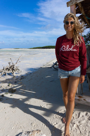 Aloha Sweater ~ Burgundy