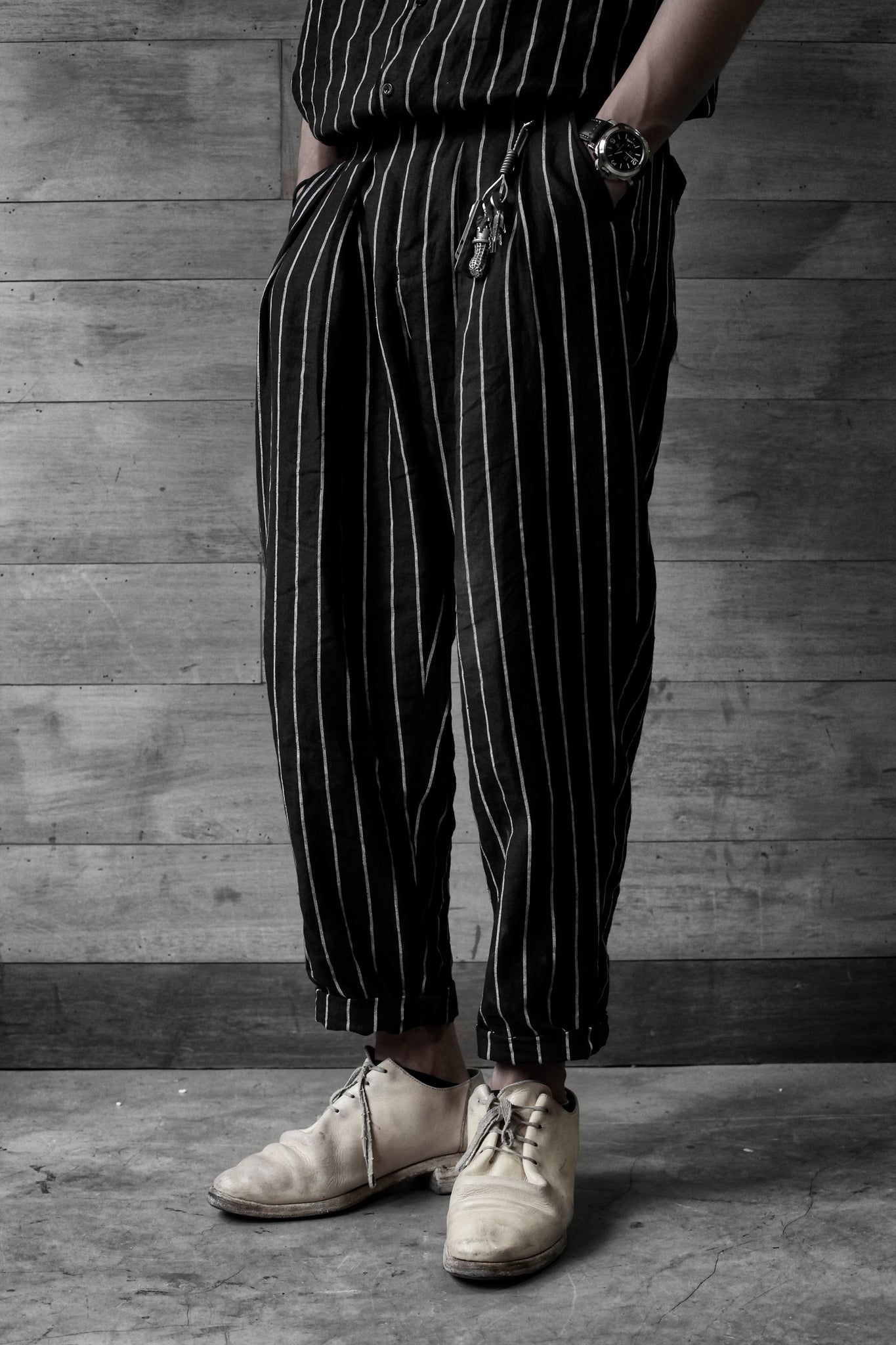 Linen Wide-Leg Trousers [ strips ]