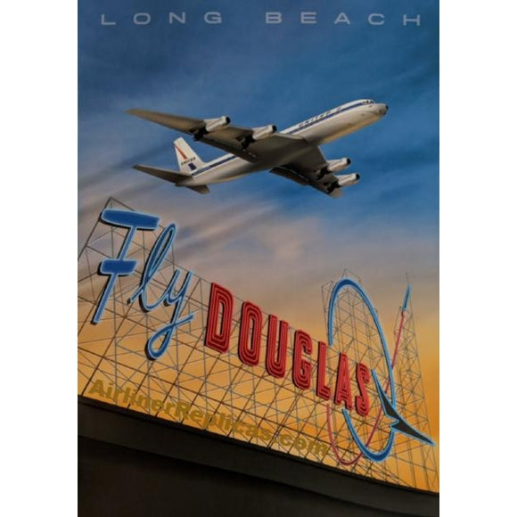 Long Beach Airport - United DC-8 14 X 20 - Airliner Replicas
