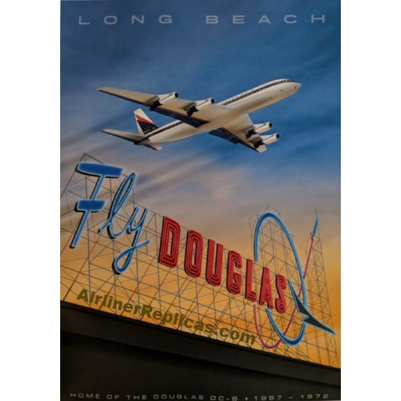 Long Beach Airport - Douglas DC-8 14 X 20 - Airliner Replicas