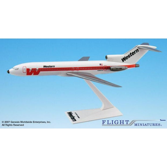 Flight Miniatures Western 727-200 1:200 Plastic Snap-Fit Desktop Model - Airliner Replicas