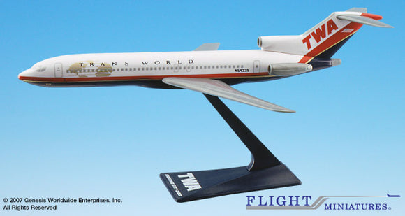 Flight Miniatures TWA 727-200 1:200 Plastic Snap-Fit Desktop Model - Airliner Replicas