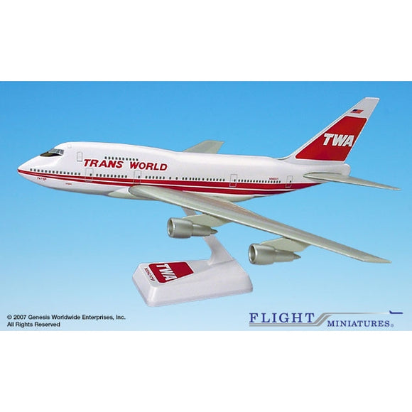 Flight Miniatures TWA 747SP 1:200 Plastic Snap-Fit Desktop Model - Airliner Replicas